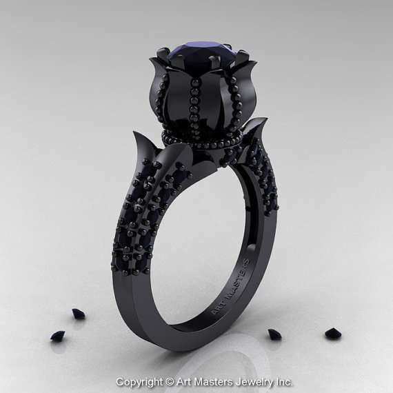 Gothic Wedding Rings.Black Diamond Solitaire Ring