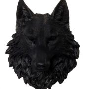 Black Wolf Head Faux Taxidermy