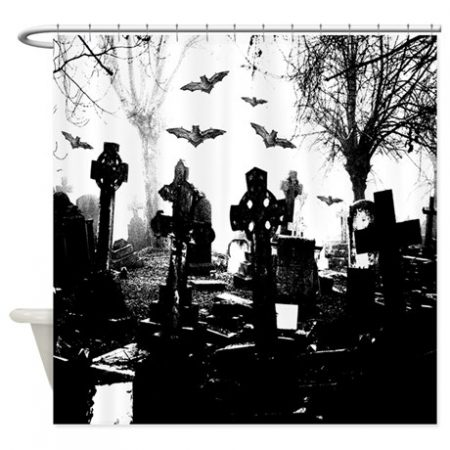 Gothic Cemetery Shower Curtain