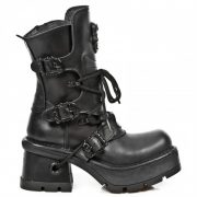 New Rock Ladies Ankle Boots – Pure Black