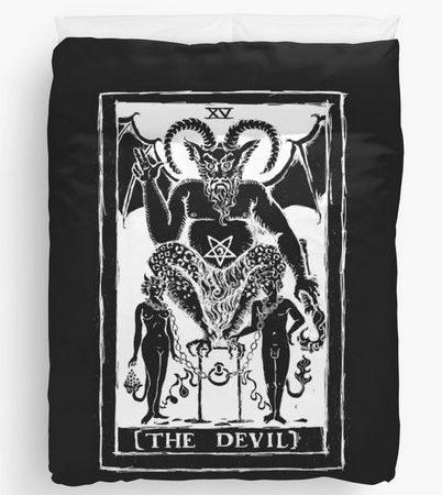 The Devil Tarot Card Duvet Cover