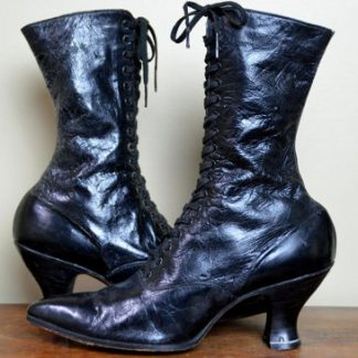 Vintage Victorian Black Leather Boots