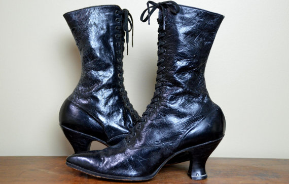 vintage black leather boots i want it black
