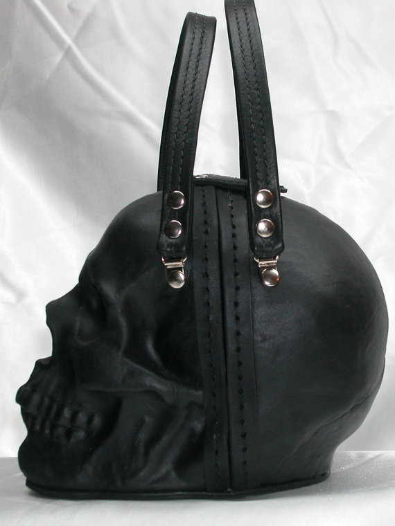 Black Leather Skull Purse