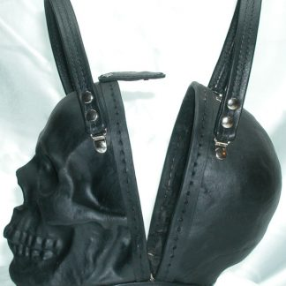 black leather skull purse side view