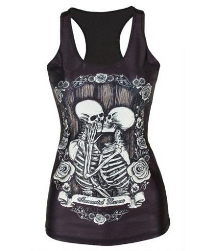 Black Immortal Lovers Skeleton Tank Top