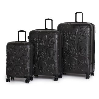Black Skulls & Roses 3 Piece Luggage Set