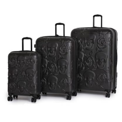 Black Skulls & Roses 3 Piece Luggage Set