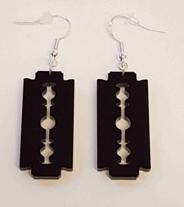 Black Razor Blade Earrings - Acrylic