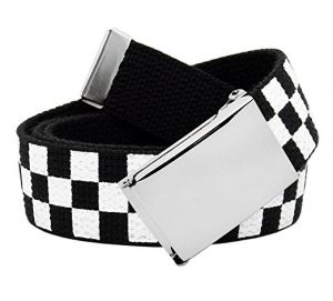 Black & White Checkered Canvas Web Belt