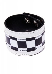 Black and White Checkered Vegan Leather Emo Bracelet