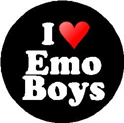 I love Emo Boys Pinback Button Badge