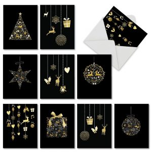 10 Assorted Black Gilded Christmas Ornaments Cards