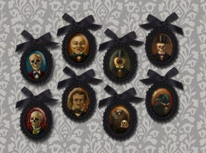 Black Beaded Victorian Portrait Ornaments