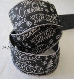 Black Chalkboard Script Christmas Ribbon
