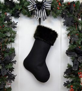 Gothic Black Christmas Stocking with Faux Fur