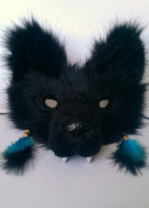 Black Faux Fur Wolf Mask