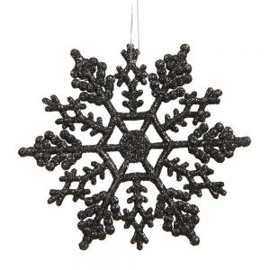 Black Glitter Snowflakes Christmas Tree Ornaments 24 Pack