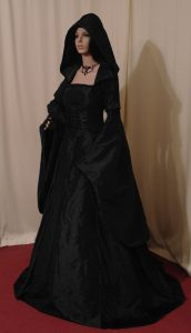 Black Hooded Medieval Renaissance Wedding Dress