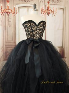 Gothic Black Lace Corset Tulle Wedding Dress