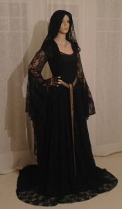 Black Lace Medieval Hooded Wedding Dress