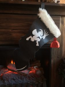 Black Leather Krampus Stocking with Bell