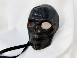 Black Leather Skull Creepy Horror Halloween Mask