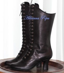 Black Leather Victorian Lace Up Boots