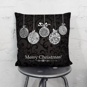 Black Merry Christmas Baubles Decorations Pillow