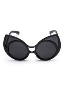 Black Oversized 50s Style Cat Eye Sunglasses