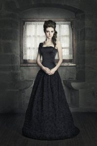 Gothic Black Satin Corset Tulle Wedding Dress