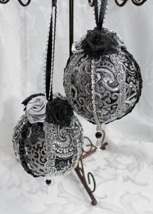 Black & Silver Brocade Victorian Style Christmas Ornaments
