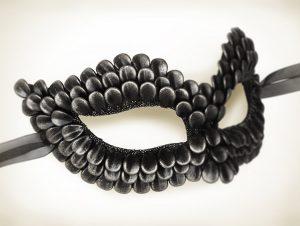 Black & Silver Dragon Scales Venetian Masquerade Mask