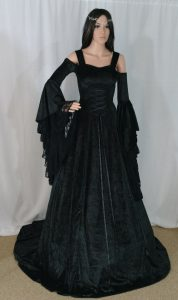 Black Crushed Velvet Renaissance Wedding Dress