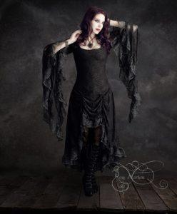 Cassiel Gothic Black Lace Wedding Dress