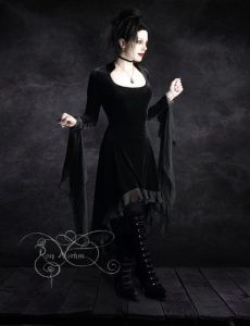 Circee Romantic Black Velvet Gothic Dress