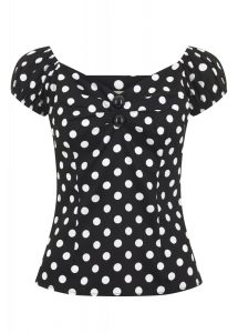 Collectif Clothing Dolores Black White Retro Polka Dot Top