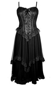 Dark Star Long Black Gothic Corset Dress