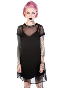 Disturbia Winona Black Sheer Layered Slip Dress