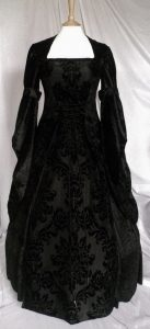 Gothic Black Velvet Flocked Taffeta Wedding Dress