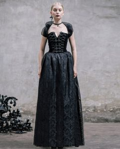 Long Black Gothic Strapless Lace Up Evening Dress