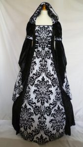 Gothic Black White Hooded Medieval Wedding Dress