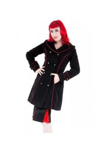 HR London Lace Up Corset Back Military Coat - Black / Red