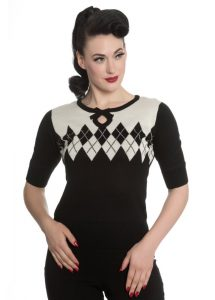Hell Bunny Chantal Black White Harlequin Rockabilly Jumper