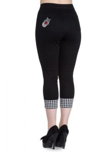 Hell Bunny Ladybird 50s Retro Black / Gingham Capri Pants
