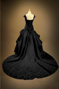 Long Black Satin Gothic Lace Up Wedding Gown