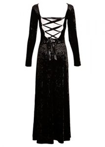 Long Black Velvet Lace Up Gothic Dress