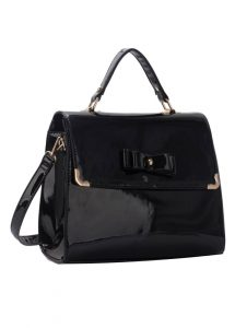 Black Patent Rockabilly Bow Handbag