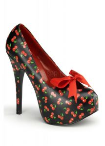 Pin Up Couture Teeze-12 Rockabilly Cherry Bow Shoes