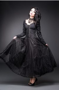 Queen of Darkness Black Gothic Long Sleeved Maxi Dress